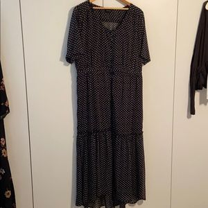 Who What Wear for Target Blk Polka Dot Maxi Dress